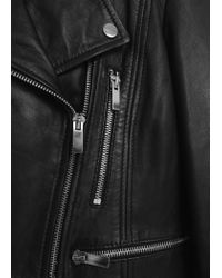 Mango - Black Leather Biker Jacket - Lyst
