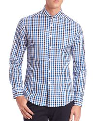 Vince Camuto | Blue Plaid Cotton Sportshirt for Men | Lyst
