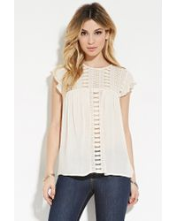 Forever 21 | Natural Sheer Crochet-paneled Top | Lyst