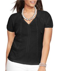 Lauren by Ralph Lauren | Black Plus Embroidered Cotton Top | Lyst
