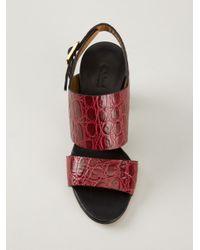 Chloé - Red Crocodile Effect Sandal - Lyst