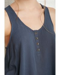 Forever 21 | Blue Buttoned Racerback Top | Lyst