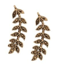 Lucky Brand - Metallic Crystal-accented Leaf Crawler Earrings - Lyst