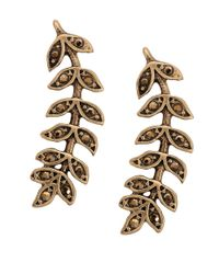 Lucky Brand | Metallic Crystal-accented Leaf Crawler Earrings | Lyst