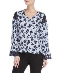 Antilia Femme Blue Floral Lace Trim Top