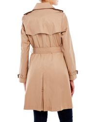 Lauren by Ralph Lauren | Brown Faux Leather Piped Trench Coat | Lyst