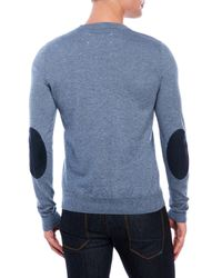 Maison Margiela - Blue Crew Neck Elbow Patch Sweater for Men - Lyst