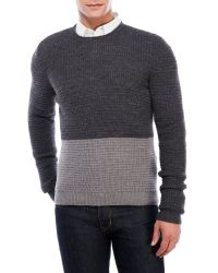 Maison Margiela | Gray Color Block Waffle Sweater for Men | Lyst