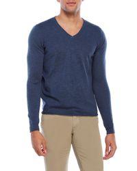 Woolrich | Blue Dry Slub V-Neck Sweater for Men | Lyst
