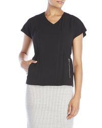 Laundry by Shelli Segal - Black Asymmetrical Moto Jacket - Lyst