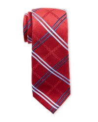 Pierre Cardin | Red Large Grid Slim Silk Tie for Men | Lyst