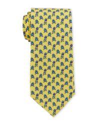 Battistoni - Yellow Frog Silk Tie for Men - Lyst