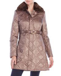 Via Spiga | Multicolor Faux Fur Trim Belted Coat | Lyst