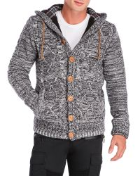 American Stitch - Gray Cable Knit Hooded Cardigan for Men - Lyst