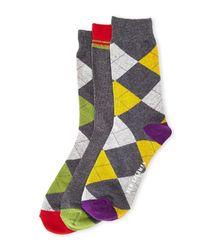 Ben Sherman - Gray 3-Pack Argyle Crew Socks for Men - Lyst