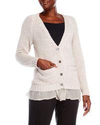 CLU - Gray Silk-Lined Cardigan - Lyst
