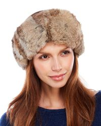 Surell - Brown Real Rabbit Fur Headband - Lyst