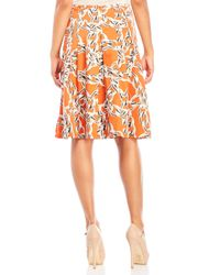 Samantha Sung - Orange Printed Pleated Midi Skirt - Lyst