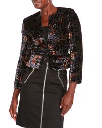 Sonia Rykiel - Black Velour Botanical Jacket - Lyst