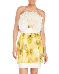 Giambattista Valli Yellow Strapless Embellished Silk Dress