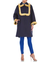 House of Holland | Blue Textured A-Line Coat | Lyst