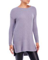 Vince Camuto | Purple Check & Rib Stitch Sweater | Lyst