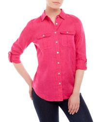Symple NYC - Pink Two-Pocket Linen Shirt - Lyst