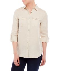 Symple NYC | Natural Two-Pocket Linen Shirt | Lyst