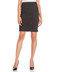 Premise Studio Black Slim Skirt With Textured Dots