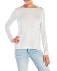 VINCE | White Long Sleeve Striped Boatneck Tee | Lyst