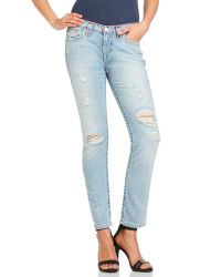 True Religion | Blue Audrey Slim Boyfriend Jeans | Lyst