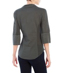 James Perse - Gray Contrast Panel Woven Shirt - Lyst