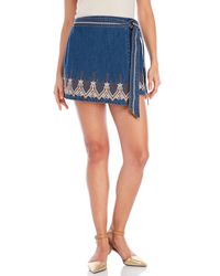 Free People | Blue Embroidered Denim Wrap Skirt | Lyst