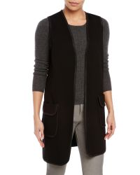 Max Studio | Black Ponte Knit Open Vest | Lyst