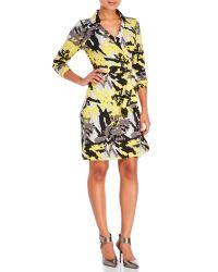 BCBGMAXAZRIA   Yellow Printed Wrap Dress   Lyst