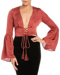 Olivaceous | Red Lace-Up Bell Sleeve Crop Top | Lyst