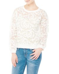 Romeo and Juliet Couture - White Sheer Embroidered Pullover - Lyst