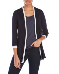 Premise Studio - Blue Cardigan With Layered Opening - Lyst