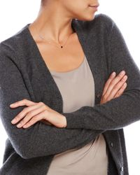 In Cashmere - Gray V-Neck Pointelle Cashmere Cardigan - Lyst