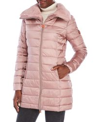 Save The Duck - Pink Packable Faux Fur Trim Coat - Lyst