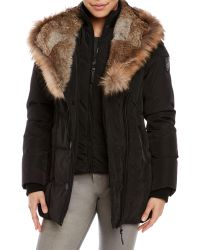 Rudsak | Black Real Fur Trim Hooded Down Coat | Lyst