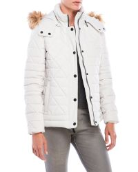 Marc New York | Multicolor Faux Fur-Trimmed Stretch Premium Down Jacket | Lyst