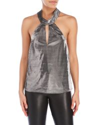 Re:named | Gray Metallic Halter Top | Lyst