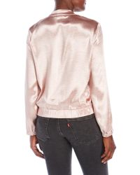 Re:named - Pink Silky Bomber Jacket - Lyst