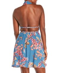 illa illa - Blue Printed Halter Dress - Lyst