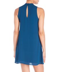 Pink Rose - Blue Mock Neck Cutout Shift Dress - Lyst