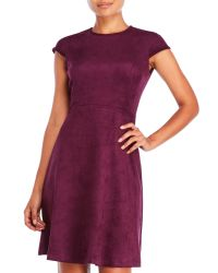 Ivanka Trump - Purple Cap Sleeve Faux Suede Dress - Lyst