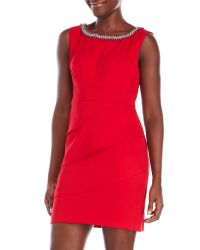 Connected Apparel - Red Petite Sheath Dress With Embellished Neckline - Lyst
