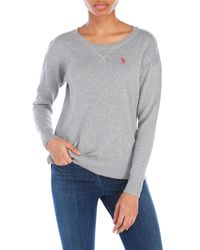 U.S. POLO ASSN. | Gray Sweater With Drop Hem | Lyst