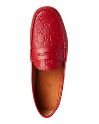 Gucci - Red Gg Leather Moc Toe Penny Drivers - Lyst